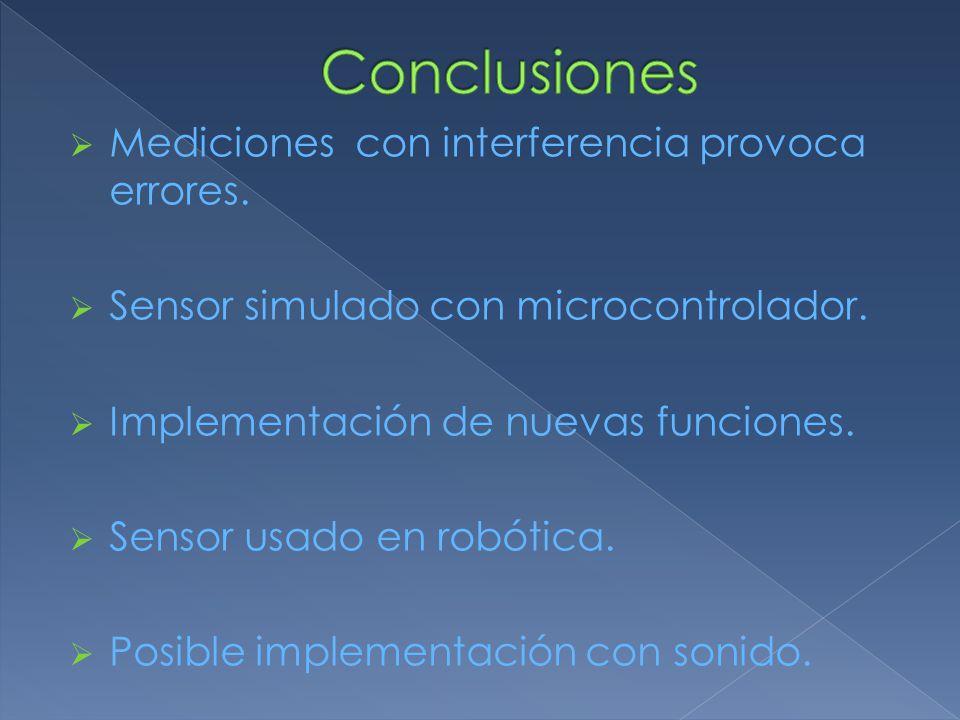  Mediciones con interferencia provoca errores.  Sensor simulado con microcontrolador.