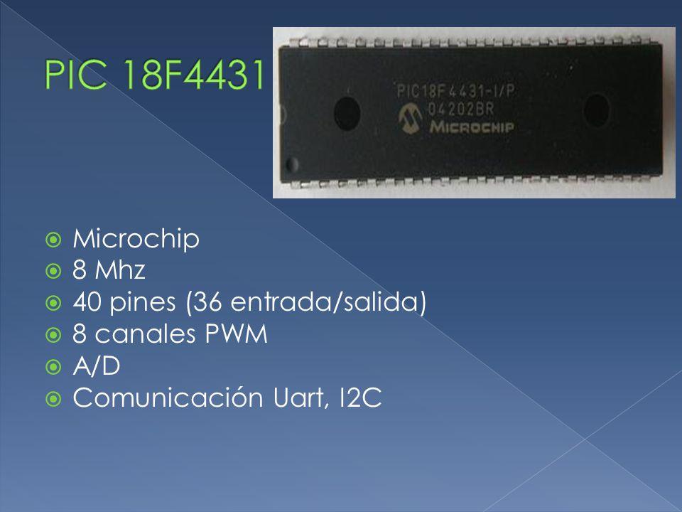  Microchip  8 Mhz  40 pines (36 entrada/salida)  8 canales PWM  A/D  Comunicación Uart, I2C