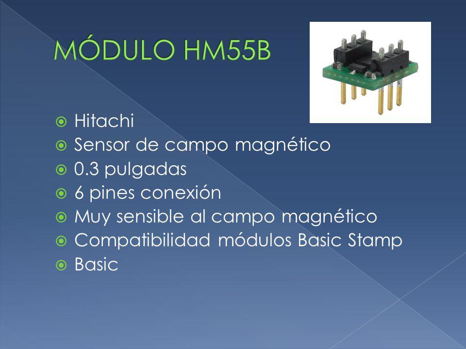  Hitachi  Sensor de campo magnético  0.3 pulgadas  6 pines conexión  Muy sensible al campo magnético  Compatibilidad módulos Basic Stamp  Basic