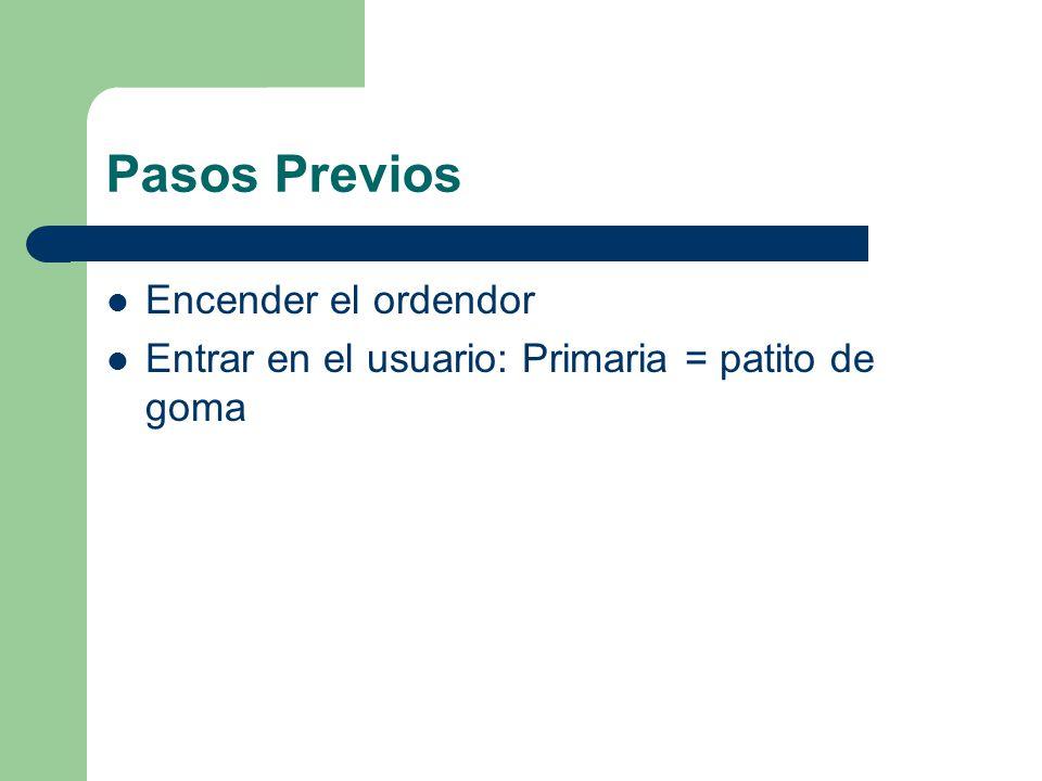 Pasos Previos Encender el ordendor Entrar en el usuario: Primaria = patito de goma