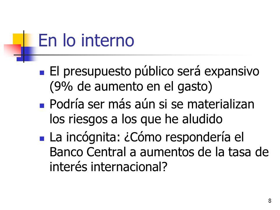 8 En lo interno El presupuesto público será expansivo (9% de aumento en el gasto) Podría ser más aún si se materializan los riesgos a los que he aludido La incógnita: ¿Cómo respondería el Banco Central a aumentos de la tasa de interés internacional
