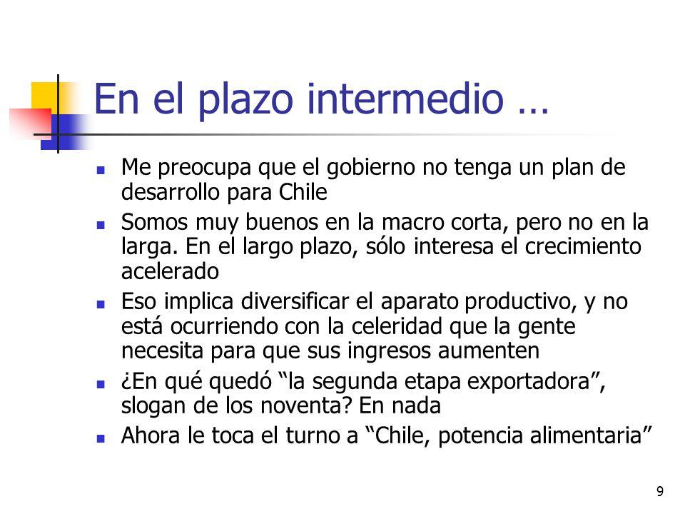 9 En el plazo intermedio … Me preocupa que el gobierno no tenga un plan de desarrollo para Chile Somos muy buenos en la macro corta, pero no en la larga.