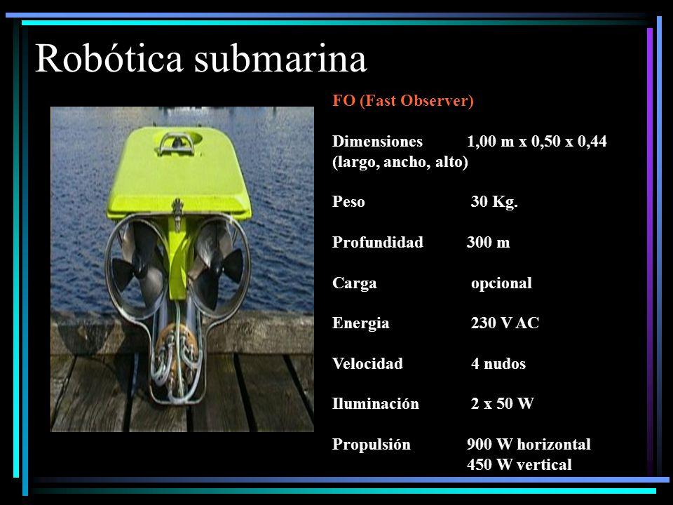 Robótica submarina FO (Fast Observer) Dimensiones1,00 m x 0,50 x 0,44 (largo, ancho, alto) Peso 30 Kg.