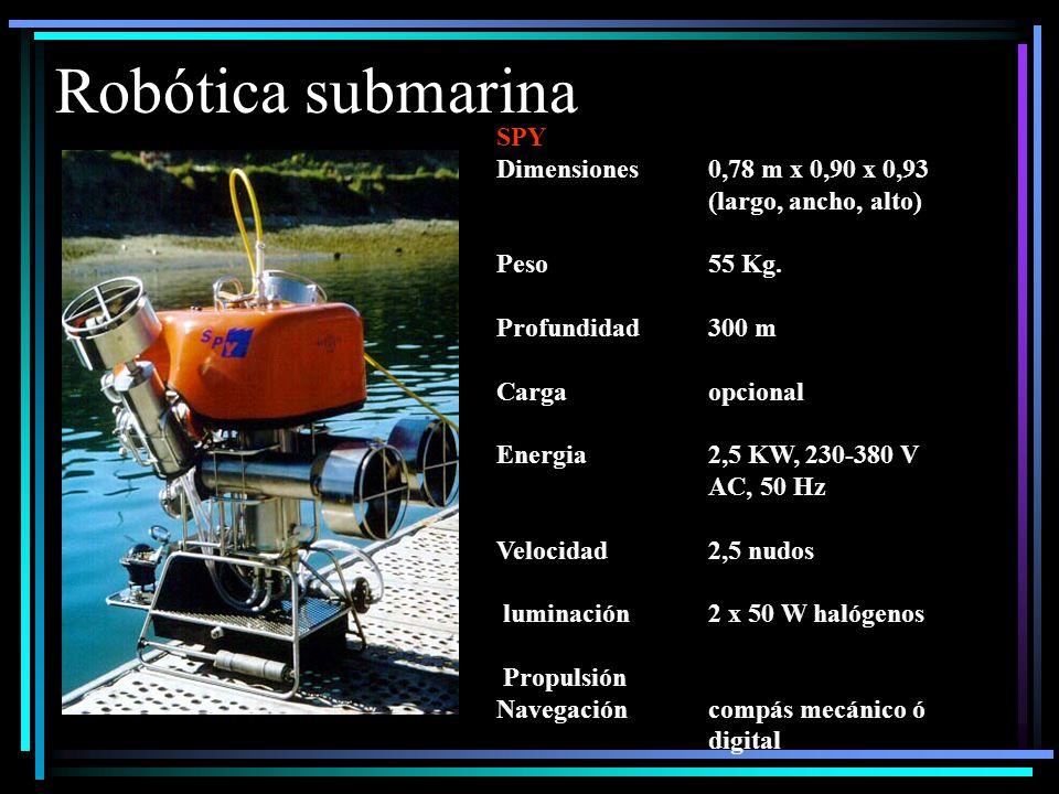 Robótica submarina SPY Dimensiones0,78 m x 0,90 x 0,93 (largo, ancho, alto) Peso55 Kg.