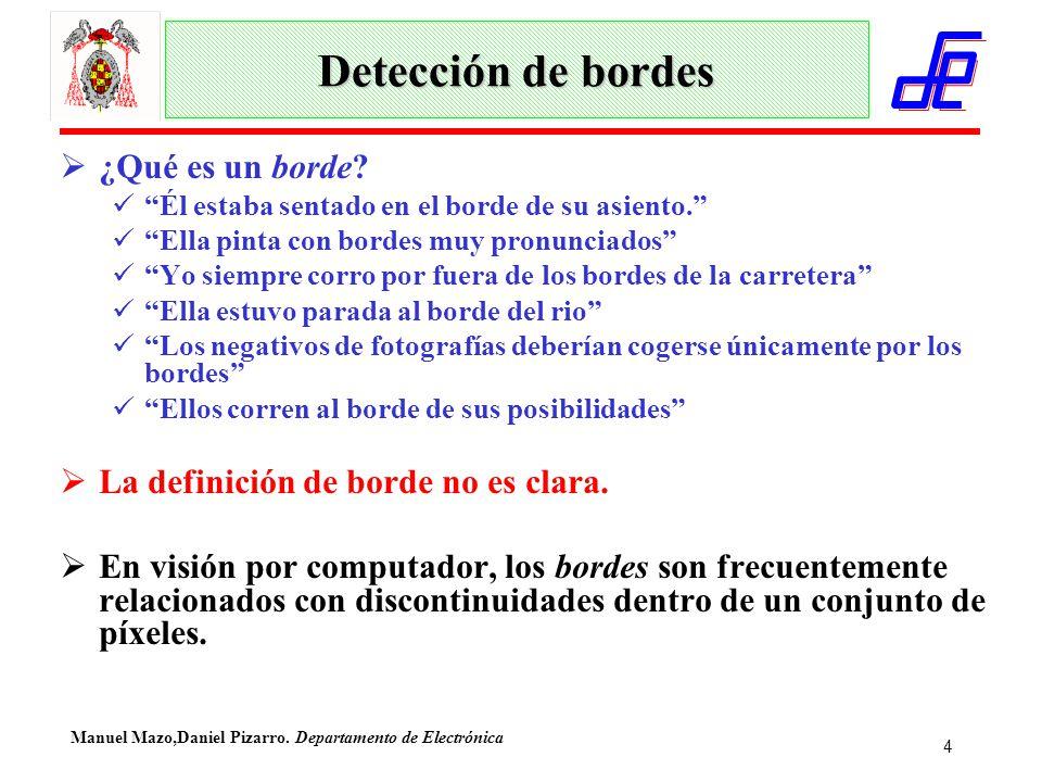 Manuel Mazo,Daniel Pizarro. Departamento de Electrónica 4 Detección de bordes  ¿Qué es un borde.