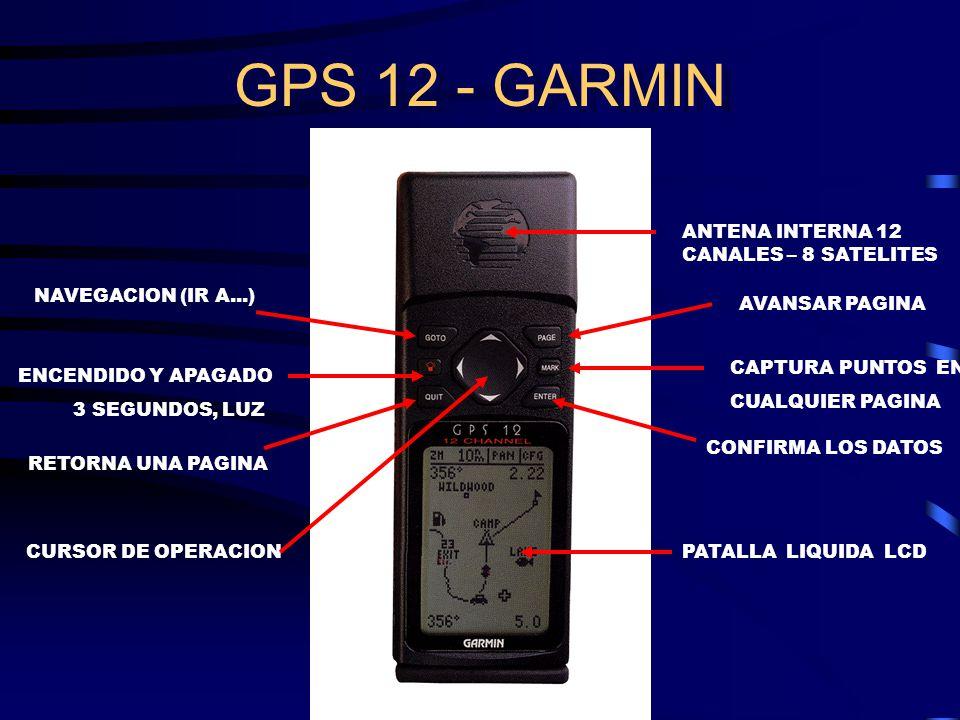 GPS 12 - GARMIN NAVEGACION (IR A...) ENCENDIDO Y APAGADO 3 SEGUNDOS, LUZ RETORNA UNA PAGINA ANTENA INTERNA 12 CANALES – 8 SATELITES AVANSAR PAGINA CAPTURA PUNTOS EN CUALQUIER PAGINA CONFIRMA LOS DATOS PATALLA LIQUIDA LCDCURSOR DE OPERACION