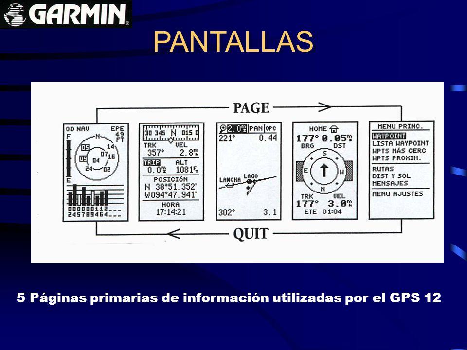 PANTALLAS 5 Páginas primarias de información utilizadas por el GPS 12