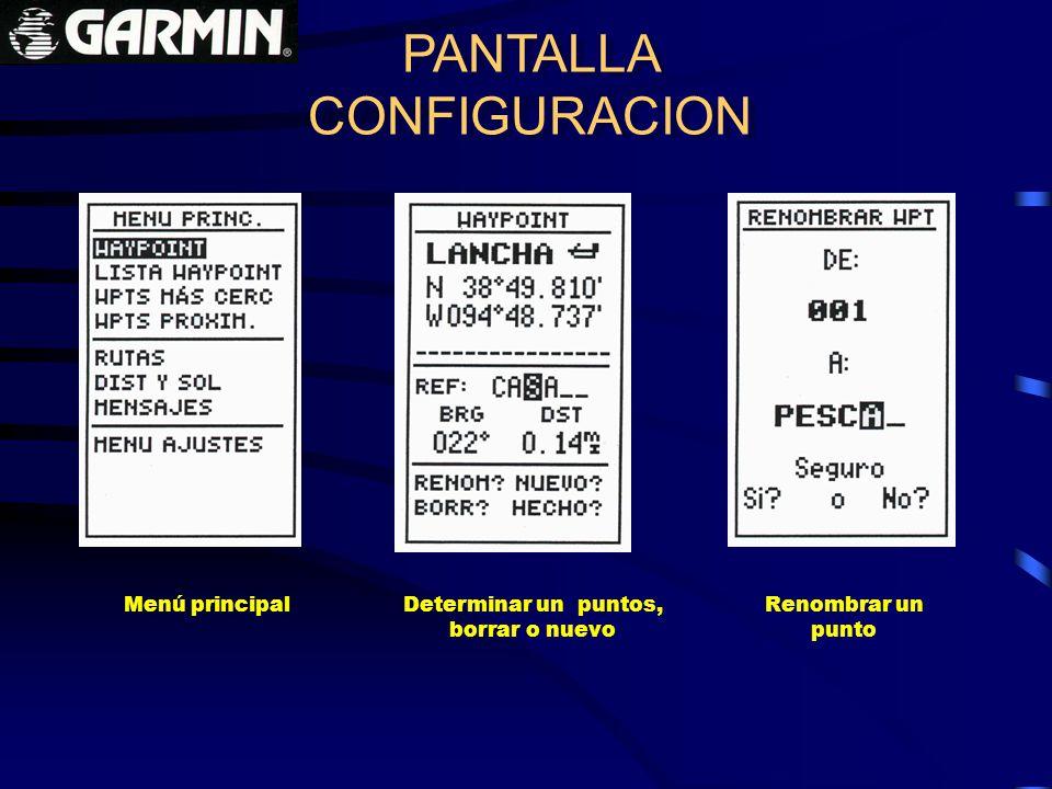 PANTALLA CONFIGURACION PANTALLA CONFIGURACION Determinar un puntos, borrar o nuevo Renombrar un punto Menú principal