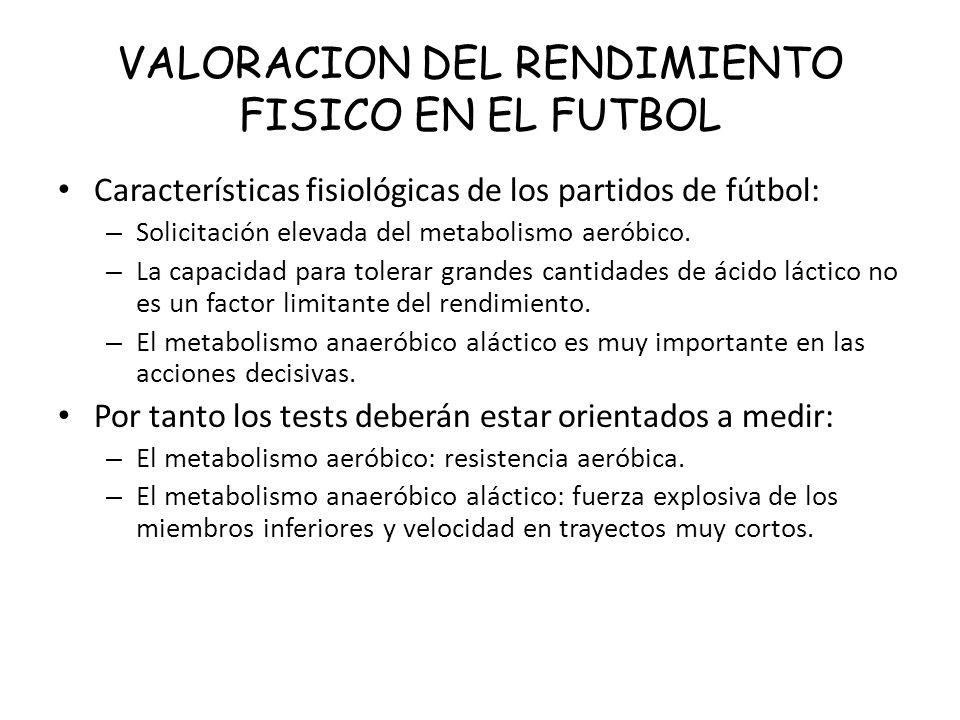 VALORACION DEL RENDIMIENTO FISICO EN EL FUTBOL Características fisiológicas de los partidos de fútbol: – Solicitación elevada del metabolismo aeróbico.