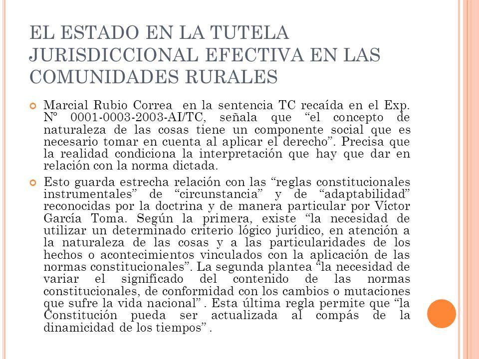 EL ESTADO EN LA TUTELA JURISDICCIONAL EFECTIVA EN LAS COMUNIDADES RURALES Marcial Rubio Correa en la sentencia TC recaída en el Exp.