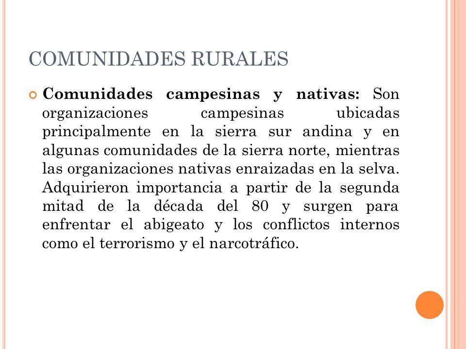 COMUNIDADES RURALES Comunidades campesinas y nativas: Son organizaciones campesinas ubicadas principalmente en la sierra sur andina y en algunas comunidades de la sierra norte, mientras las organizaciones nativas enraizadas en la selva.