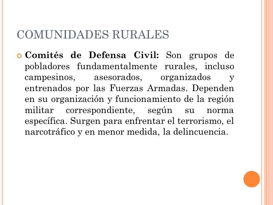 COMUNIDADES RURALES Comités de Defensa Civil: Son grupos de pobladores fundamentalmente rurales, incluso campesinos, asesorados, organizados y entrenados por las Fuerzas Armadas.