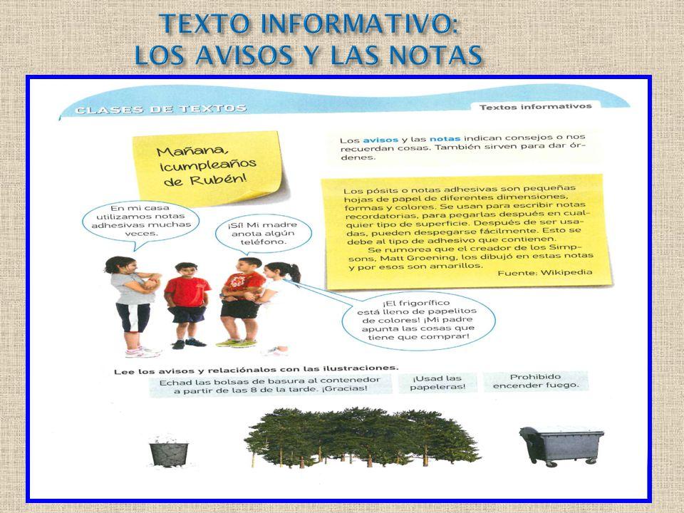 TEXTO INFORMATIVO: LOS AVISOS Y LAS NOTAS
