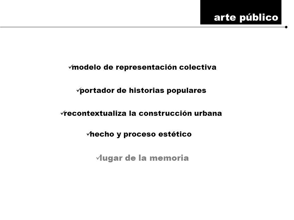 arte público modelo de representación colectiva portador de historias populares recontextualiza la construcción urbana hecho y proceso estético lugar de la memoria
