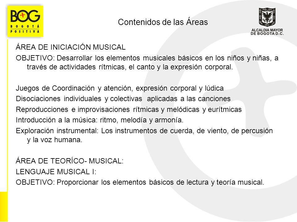Contenidos de las Áreas ÁREA DE INICIACIÓN MUSICAL OBJETIVO: Desarrollar los elementos musicales básicos en los niños y niñas, a través de actividades rítmicas, el canto y la expresión corporal.