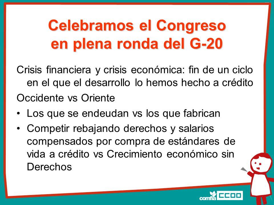 Celebramos el Congreso en plena ronda del G-20 Crisis financiera y crisis económica: fin de un ciclo en el que el desarrollo lo hemos hecho a crédito Occidente vs Oriente Los que se endeudan vs los que fabrican Competir rebajando derechos y salarios compensados por compra de estándares de vida a crédito vs Crecimiento económico sin Derechos