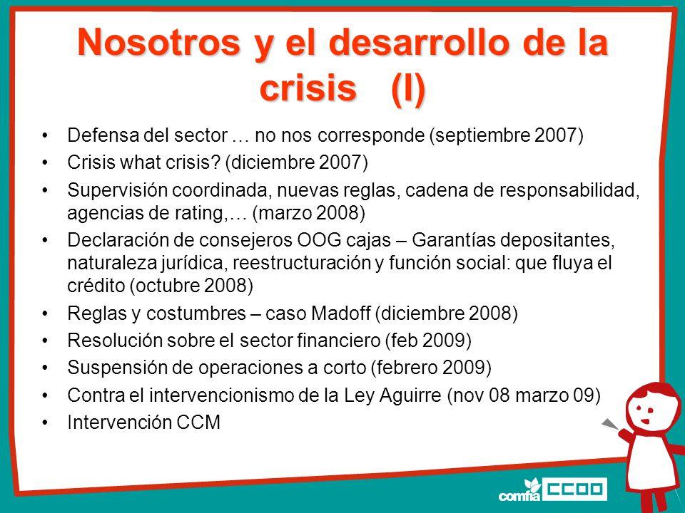 Nosotros y el desarrollo de la crisis (I) Defensa del sector … no nos corresponde (septiembre 2007) Crisis what crisis.