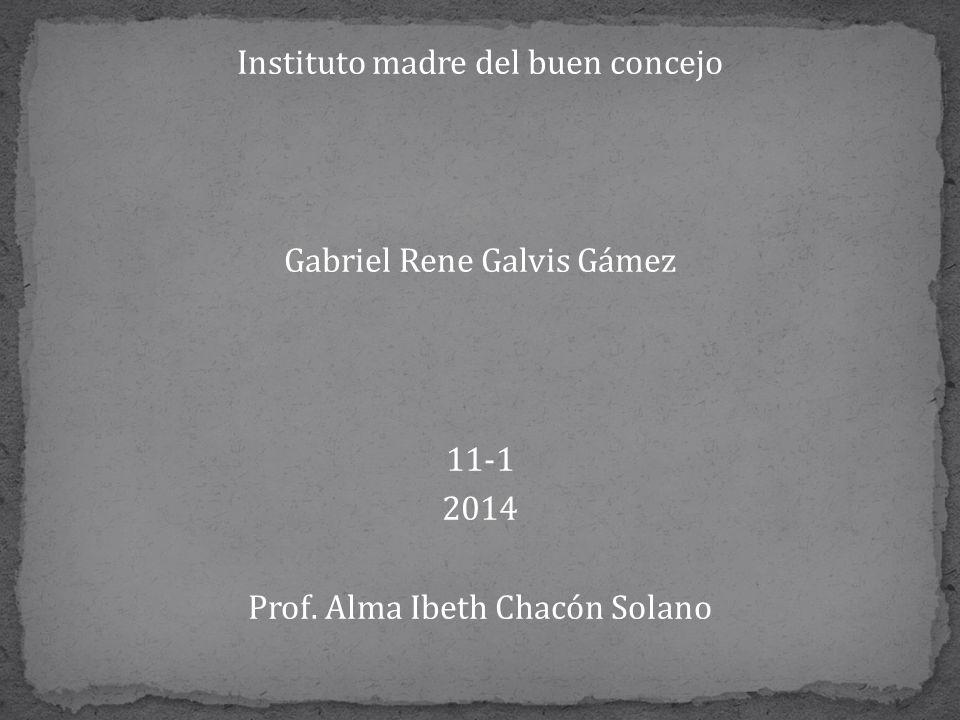 Instituto madre del buen concejo Gabriel Rene Galvis Gámez 11-1 2014 Prof. Alma Ibeth Chacón Solano