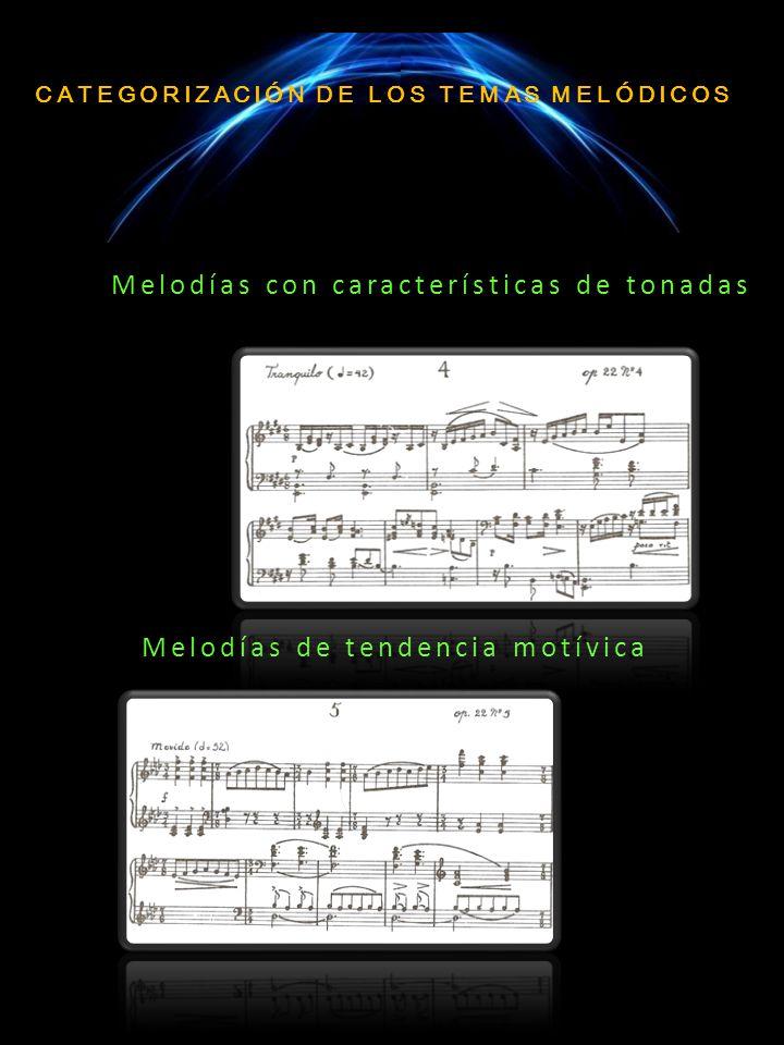 CATEGORIZACIÓN DE LOS TEMAS MELÓDICOS Melodías con características de tonadas Melodías de tendencia motívica