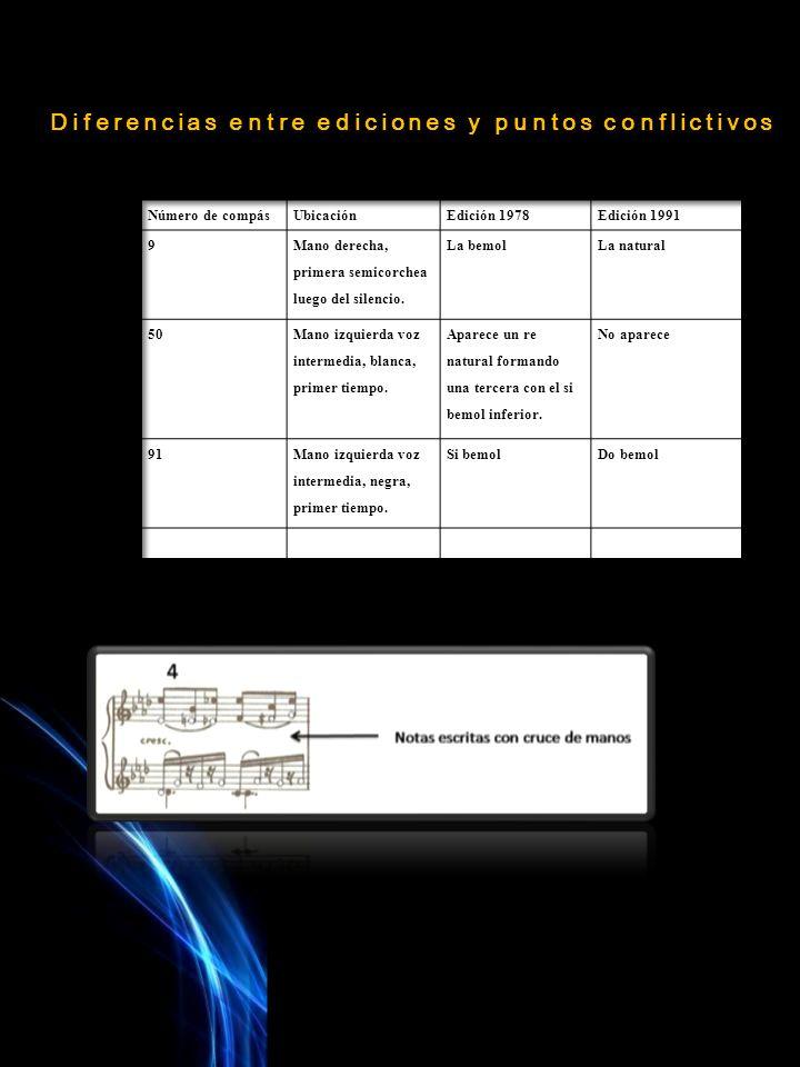Diferencias entre ediciones y puntos conflictivos