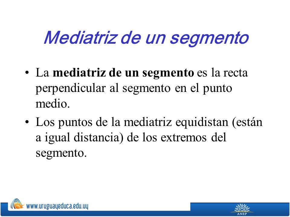 Mediatriz de un segmento La mediatriz de un segmento es la recta perpendicular al segmento en el punto medio.