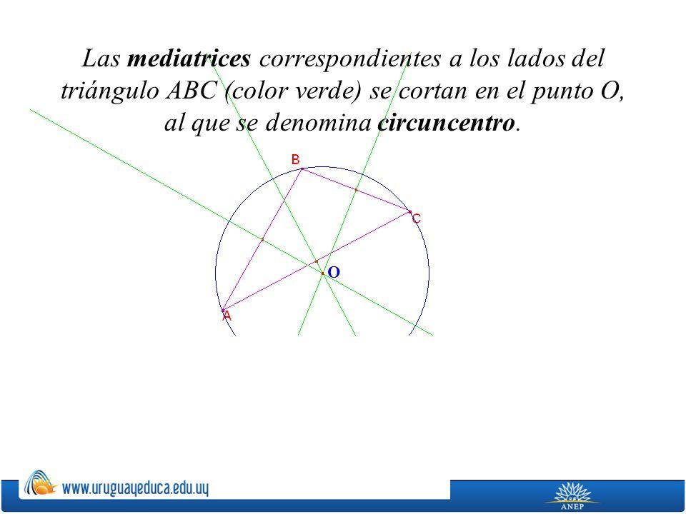 O Las mediatrices correspondientes a los lados del triángulo ABC (color verde) se cortan en el punto O, al que se denomina circuncentro.