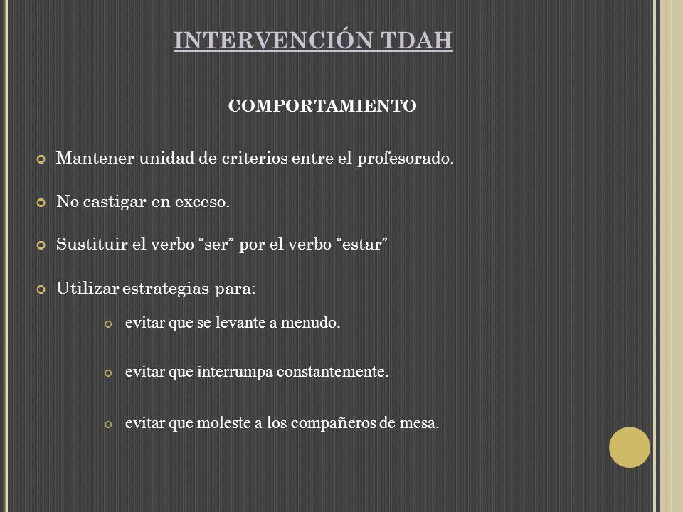 INTERVENCIÓN TDAH COMPORTAMIENTO Mantener unidad de criterios entre el profesorado.