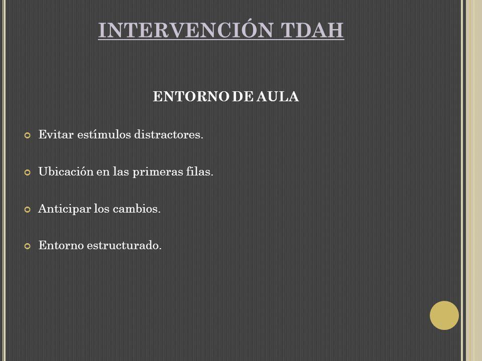 INTERVENCIÓN TDAH ENTORNO DE AULA Evitar estímulos distractores.