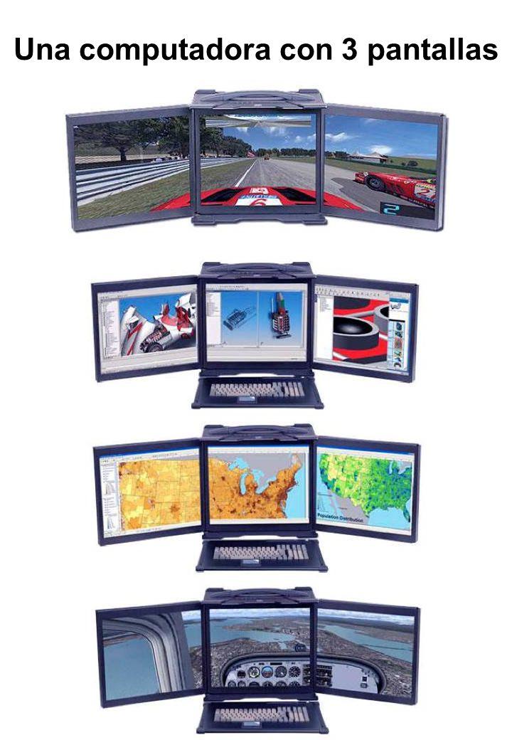 Una computadora con 3 pantallas