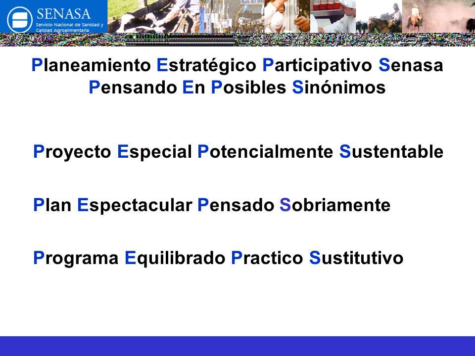 Planeamiento Estratégico Participativo Senasa Pensando En Posibles Sinónimos Proyecto Especial Potencialmente Sustentable Plan Espectacular Pensado Sobriamente Programa Equilibrado Practico Sustitutivo
