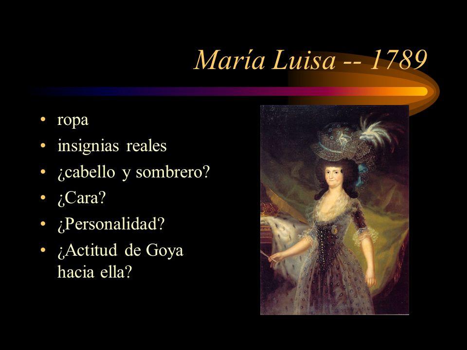 María Luisa -- 1789 ropa insignias reales ¿cabello y sombrero.
