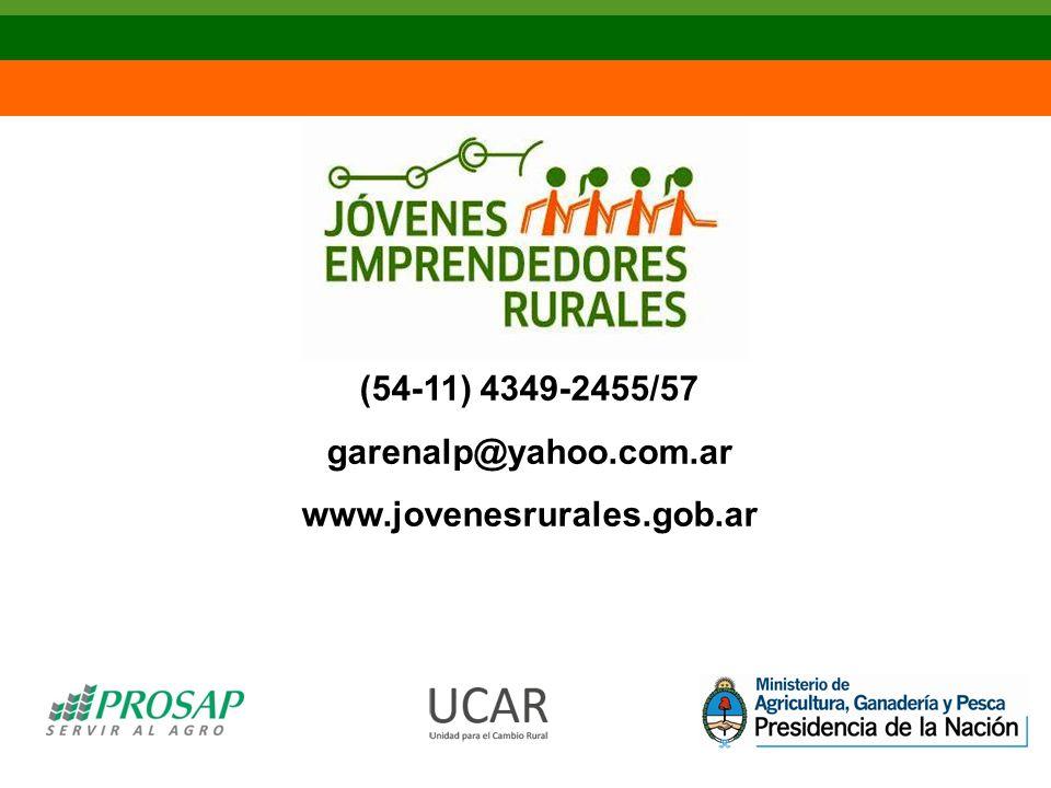 (54-11) 4349-2455/57 garenalp@yahoo.com.ar www.jovenesrurales.gob.ar