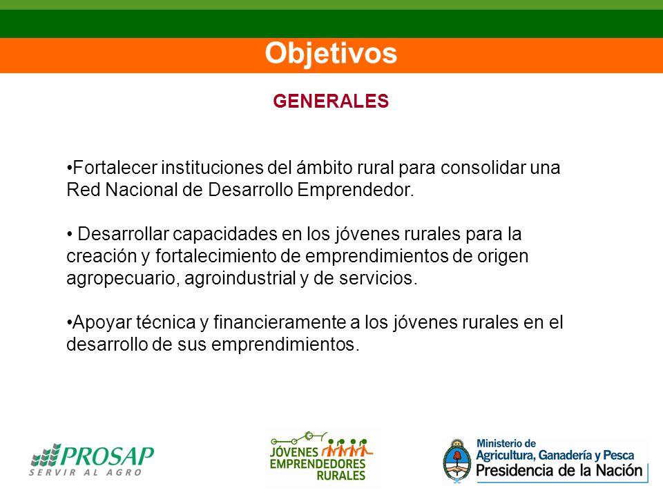 Objetivos GENERALES Fortalecer instituciones del ámbito rural para consolidar una Red Nacional de Desarrollo Emprendedor.