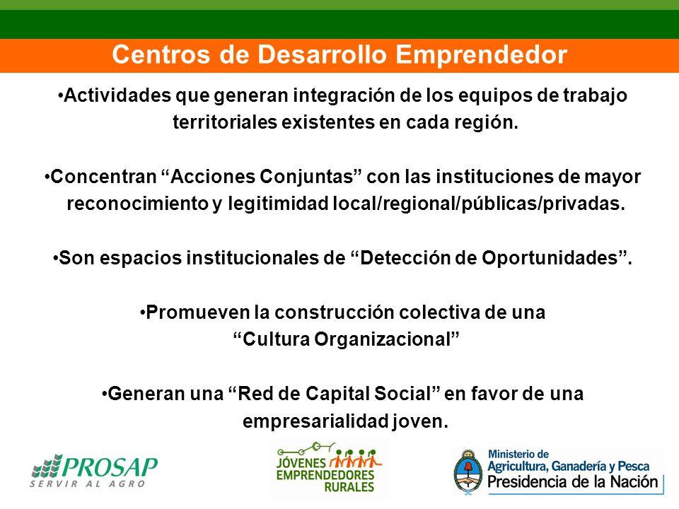 Centros de Desarrollo Emprendedor Actividades que generan integración de los equipos de trabajo territoriales existentes en cada región.