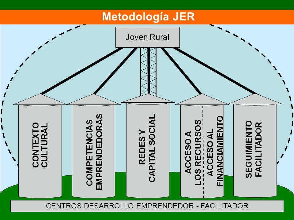 CONTEXTOCULTURAL COMPETENCIAS EMPRENDEDORAS SEGUIMIENTO FACILITADOR ACCESO A LOS RECURSOS ACCESO AL FINANCIAMIENTO Joven Rural REDES Y CAPITAL SOCIAL Metodología JER CENTROS DESARROLLO EMPRENDEDOR - FACILITADOR