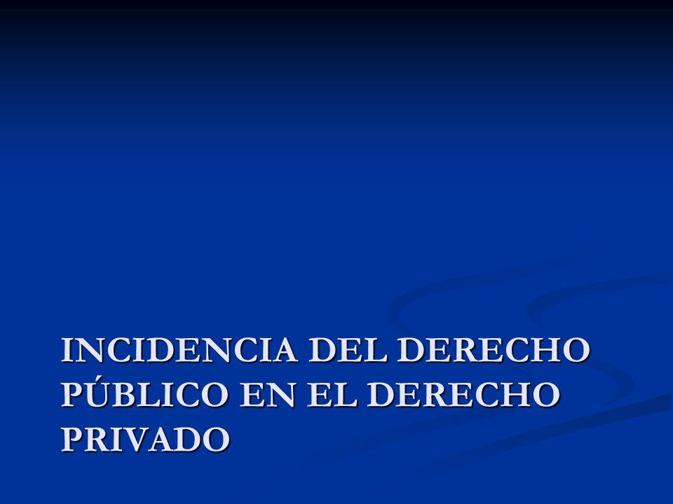 INCIDENCIA DEL DERECHO PÚBLICO EN EL DERECHO PRIVADO