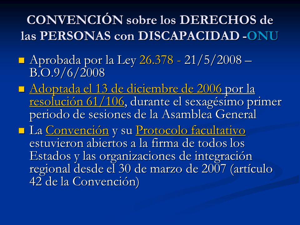 CONVENCIÓN sobre los DERECHOS de las PERSONAS con DISCAPACIDAD -ONU Aprobada por la Ley 26.378 - 21/5/2008 – B.O.9/6/2008 Aprobada por la Ley 26.378 - 21/5/2008 – B.O.9/6/2008 Adoptada el 13 de diciembre de 2006 por la resolución 61/106, durante el sexagésimo primer periodo de sesiones de la Asamblea General Adoptada el 13 de diciembre de 2006 por la resolución 61/106, durante el sexagésimo primer periodo de sesiones de la Asamblea Generaldoptada el 13 de diciembre de 2006 resolución 61/106doptada el 13 de diciembre de 2006 resolución 61/106 La Convención y su Protocolo facultativo estuvieron abiertos a la firma de todos los Estados y las organizaciones de integración regional desde el 30 de marzo de 2007 (artículo 42 de la Convención) La Convención y su Protocolo facultativo estuvieron abiertos a la firma de todos los Estados y las organizaciones de integración regional desde el 30 de marzo de 2007 (artículo 42 de la Convención)ConvenciónProtocolo facultativoConvenciónProtocolo facultativo