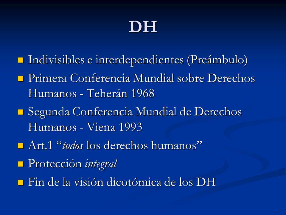 DH Indivisibles e interdependientes (Preámbulo) Indivisibles e interdependientes (Preámbulo) Primera Conferencia Mundial sobre Derechos Humanos - Teherán 1968 Primera Conferencia Mundial sobre Derechos Humanos - Teherán 1968 Segunda Conferencia Mundial de Derechos Humanos - Viena 1993 Segunda Conferencia Mundial de Derechos Humanos - Viena 1993 Art.1 todos los derechos humanos Art.1 todos los derechos humanos Protección integral Protección integral Fin de la visión dicotómica de los DH Fin de la visión dicotómica de los DH