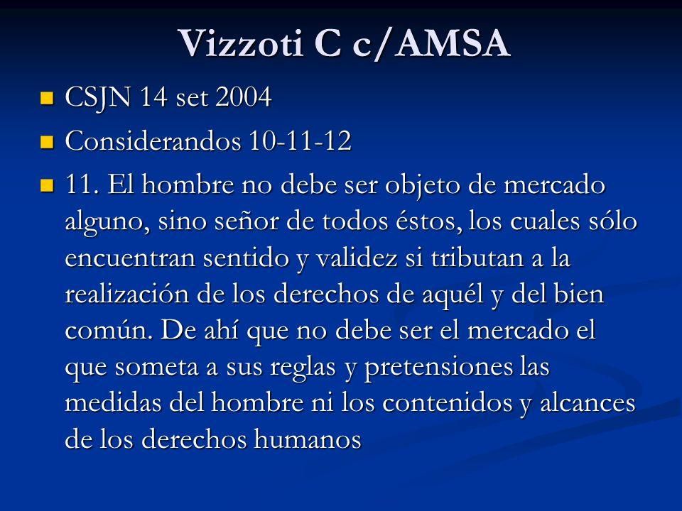 Vizzoti C c/AMSA CSJN 14 set 2004 CSJN 14 set 2004 Considerandos 10-11-12 Considerandos 10-11-12 11.