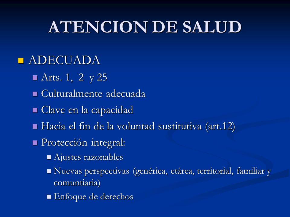 ATENCION DE SALUD ADECUADA ADECUADA Arts. 1, 2 y 25 Arts.