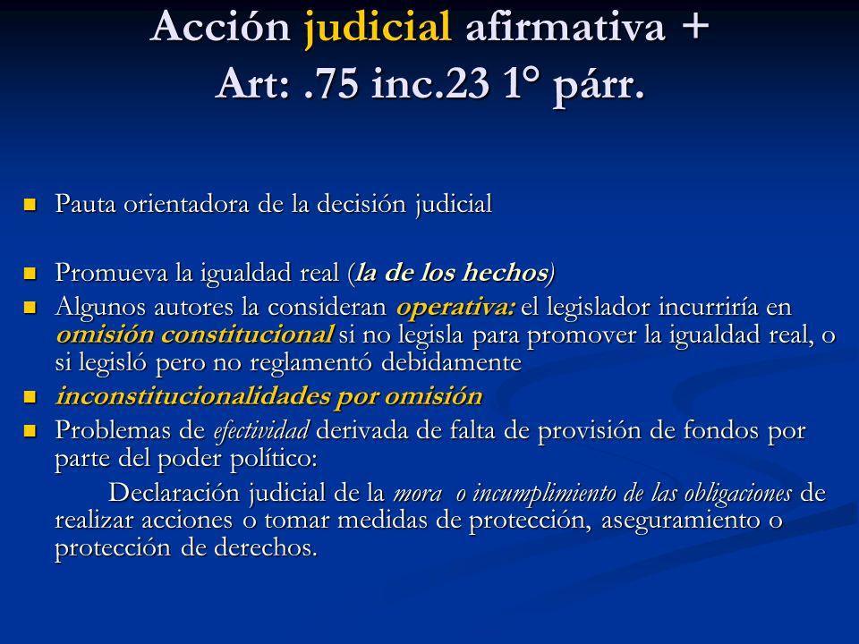 Acción judicial afirmativa + Art:.75 inc.23 1° párr.