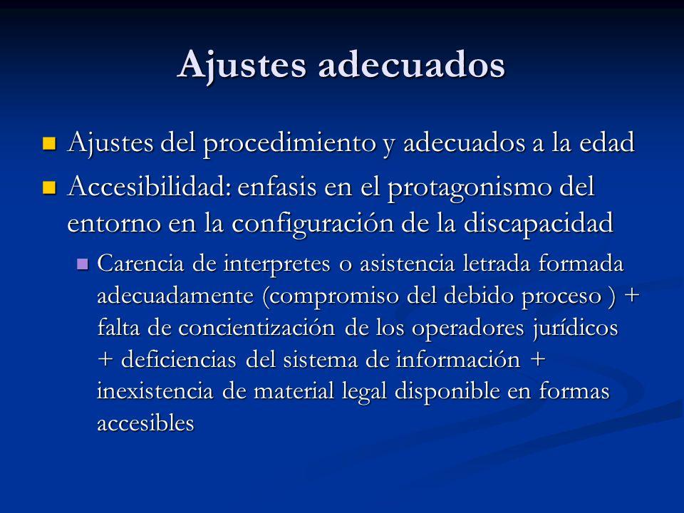 Ajustes adecuados Ajustes del procedimiento y adecuados a la edad Ajustes del procedimiento y adecuados a la edad Accesibilidad: enfasis en el protagonismo del entorno en la configuración de la discapacidad Accesibilidad: enfasis en el protagonismo del entorno en la configuración de la discapacidad Carencia de interpretes o asistencia letrada formada adecuadamente (compromiso del debido proceso ) + falta de concientización de los operadores jurídicos + deficiencias del sistema de información + inexistencia de material legal disponible en formas accesibles Carencia de interpretes o asistencia letrada formada adecuadamente (compromiso del debido proceso ) + falta de concientización de los operadores jurídicos + deficiencias del sistema de información + inexistencia de material legal disponible en formas accesibles