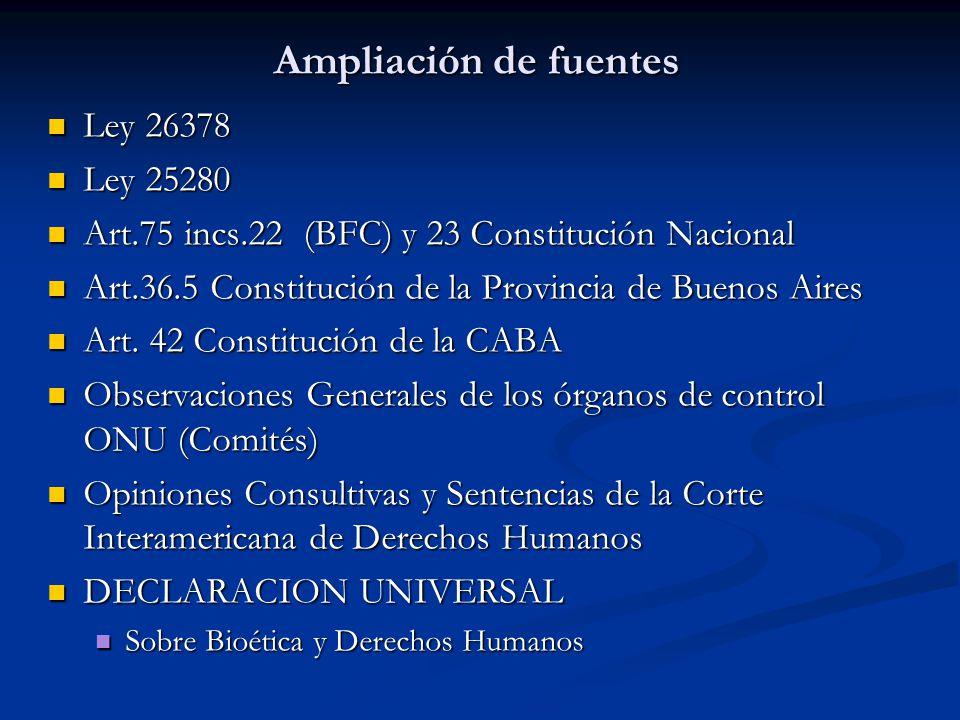 Ampliación de fuentes Ley 26378 Ley 26378 Ley 25280 Ley 25280 Art.75 incs.22 (BFC) y 23 Constitución Nacional Art.75 incs.22 (BFC) y 23 Constitución Nacional Art.36.5 Constitución de la Provincia de Buenos Aires Art.36.5 Constitución de la Provincia de Buenos Aires Art.