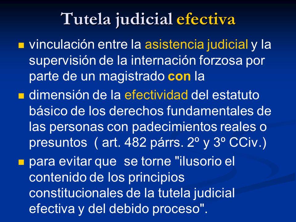 Tutela judicial efectiva vinculación entre la asistencia judicial y la supervisión de la internación forzosa por parte de un magistrado con la dimensión de la efectividad del estatuto básico de los derechos fundamentales de las personas con padecimientos reales o presuntos ( art.