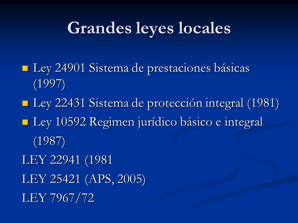 Grandes leyes locales Ley 24901 Sistema de prestaciones básicas (1997) Ley 24901 Sistema de prestaciones básicas (1997) Ley 22431 Sistema de protección integral (1981) Ley 22431 Sistema de protección integral (1981) Ley 10592 Regimen jurídico básico e integral Ley 10592 Regimen jurídico básico e integral(1987) LEY 22941 (1981 LEY 25421 (APS, 2005) LEY 7967/72