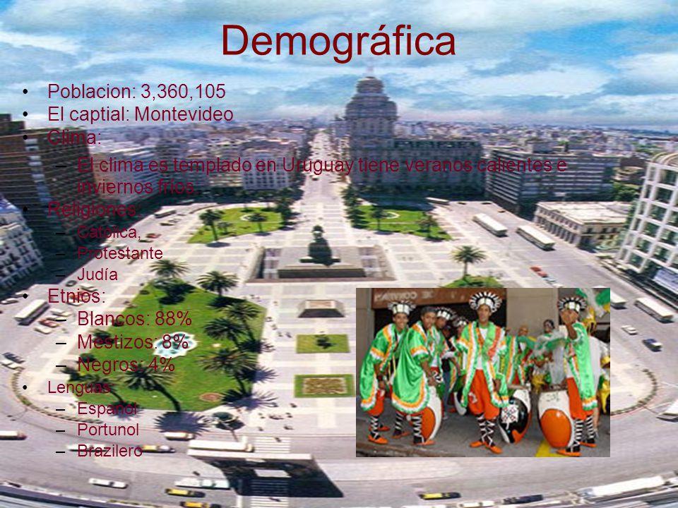 Demográfica P oblacion: 3,360,105 E l captial: Montevideo C lima: –E–El clima es templado en Uruguay tiene veranos calientes e inviernos fríos.