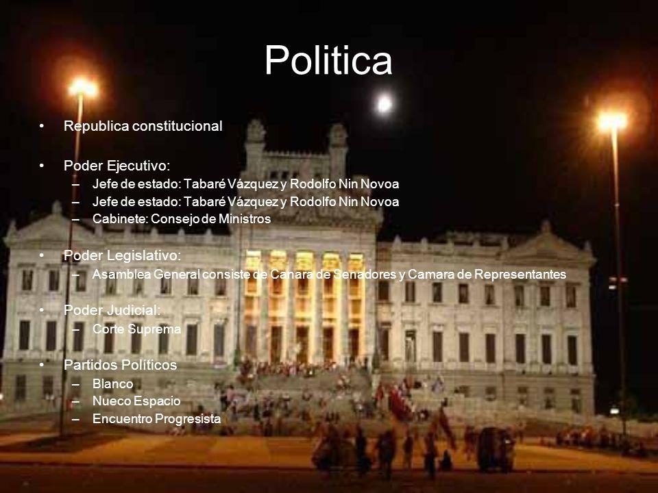 Politica R epublica constitucional P oder Ejecutivo: –J–J efe de estado: Tabaré Vázquez y Rodolfo Nin Novoa –J–J efe de estado: Tabaré Vázquez y Rodolfo Nin Novoa –C–C abinete: Consejo de Ministros P oder Legislativo: –A–A samblea General consiste de Canara de Senadores y Camara de Representantes P oder Judicial: –C–C orte Suprema P artidos Políticos –B–B lanco –N–N ueco Espacio –E–E ncuentro Progresista