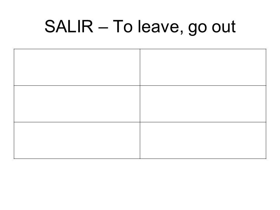 SALIR – To leave, go out SaldréSaldr emos SaldrásSaldréis SaldráSaldrán