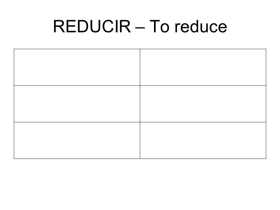 REDUCIR – To reduce ReduciréReducir emos ReducirásReduciréis ReduciráReducirán