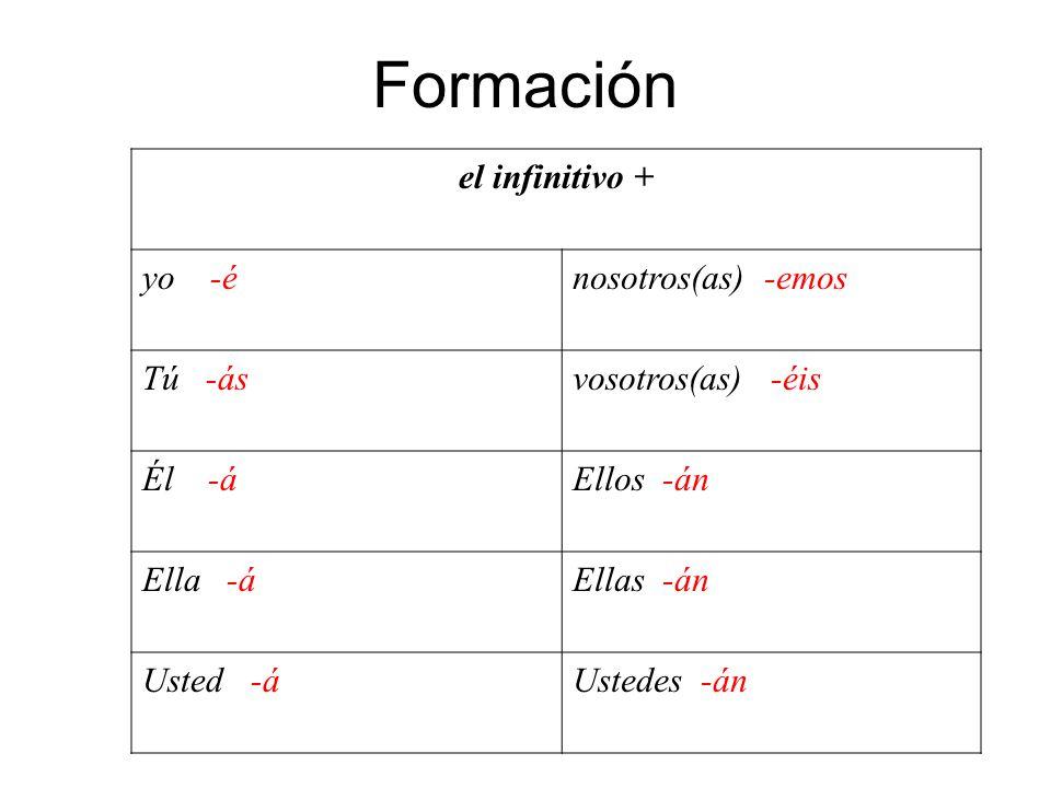 el infinitivo + yo -énosotros(as) -emos Tú -ásvosotros(as) -éis Él -áEllos -án Ella -áEllas -án Usted -áUstedes -án Formación